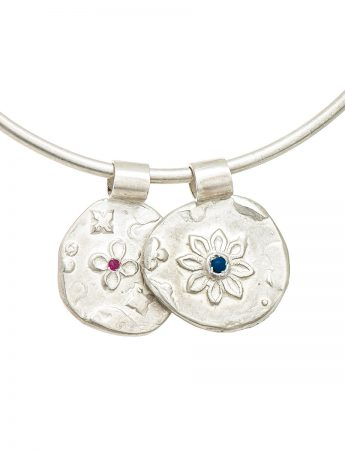 Two Circle Flowers Bracelet - Silver