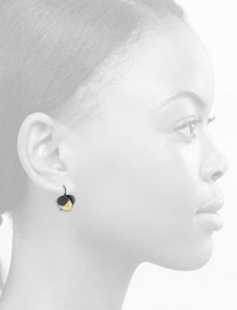Violet Hook Earrings – Black & Gold