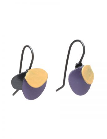 Violet Hook Earrings - Yellow & Violet