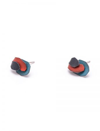 Garden Stud Earrings – Red & Blue