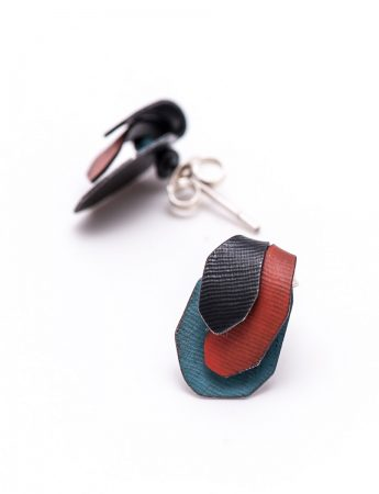 Garden Stud Earrings - Red & Blue