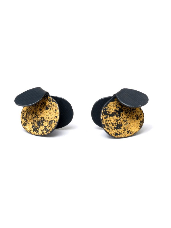 Violet Stud Earrings – Black & Gold
