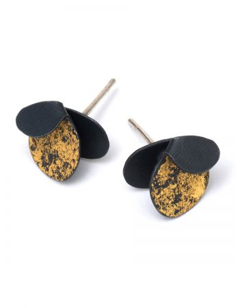 Violet Stud Earrings - Black & Gold