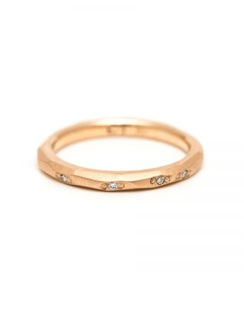 Faceted Diamond Band - Matte Rose Gold