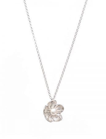 Flower Pearl Pendant Necklace - Silver