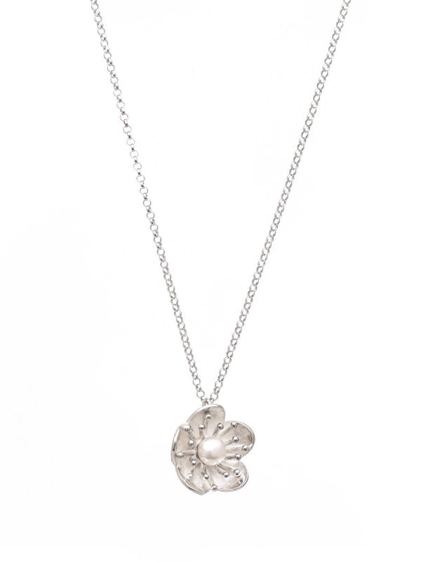 Flower Pearl Pendant Necklace – Silver