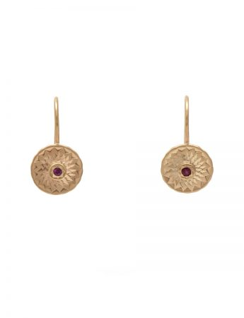 Dot Earrings - Gold & Ruby