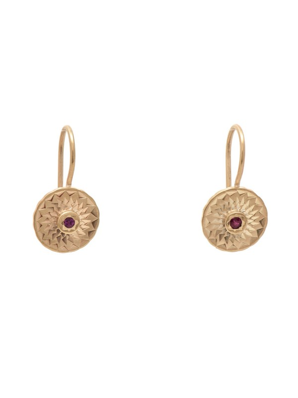 Dot Earrings – Gold & Ruby