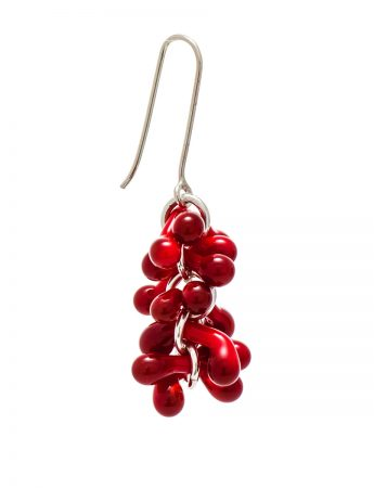 Loose Glass Earrings - Crimson