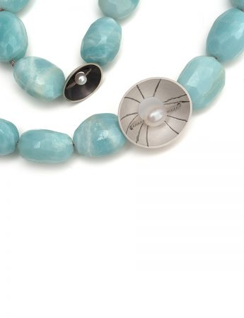 Aqua Amazonite double periwinkle necklace