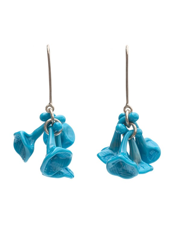 Turquoise blue glass earrings