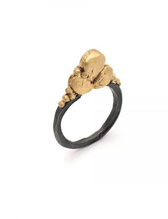 Black Silver and Gold Cluster Ring