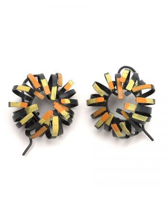 Banksia Hook Earrings – Black & Yellow