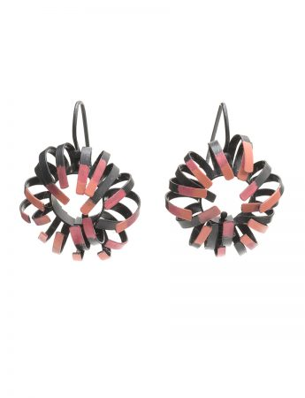 Banksia Hook Earrings - Black & Pink