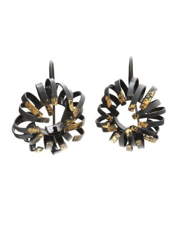 Banksia Hook Earrings - Black & Gold