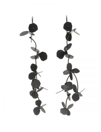 Hydrangea  Earrings - Oxidised Silver