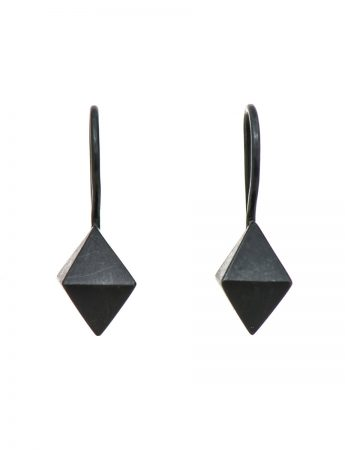 Octahedron earrings - silver