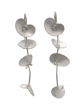 Long Orchid Earrings - Silver