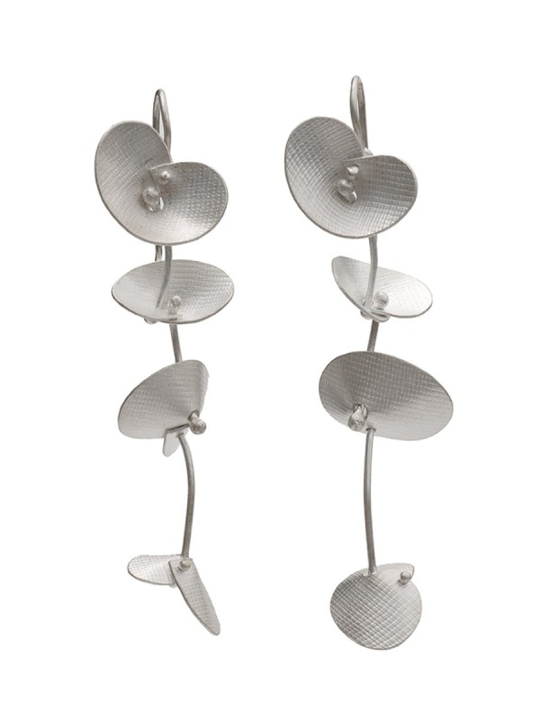 Long Orchid Earrings – Silver