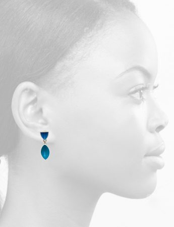 Pod & Point Stud Earrings – Light Blue