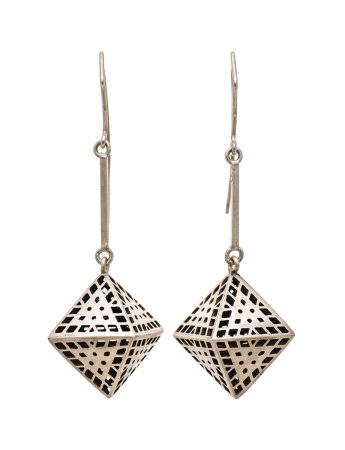 Amplify 3D earrings - oxidised silver