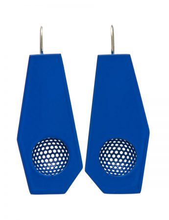 Mild steel hanging earrings - blue