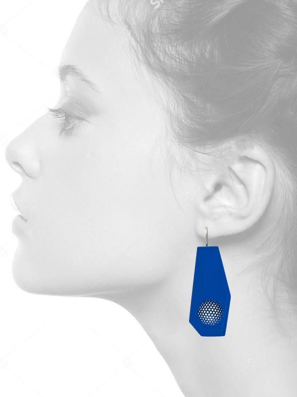 Mild steel hanging earrings – blue