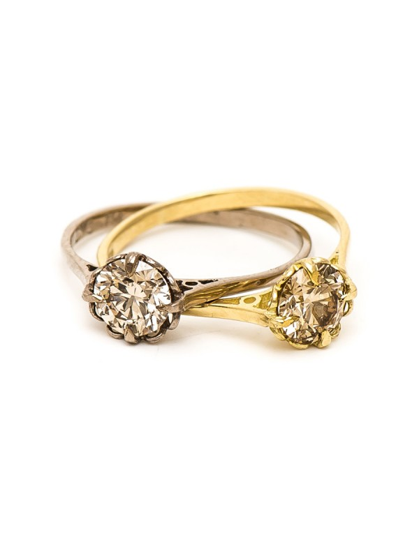 Double Victorian Solitaire Ring – Champagne Diamonds
