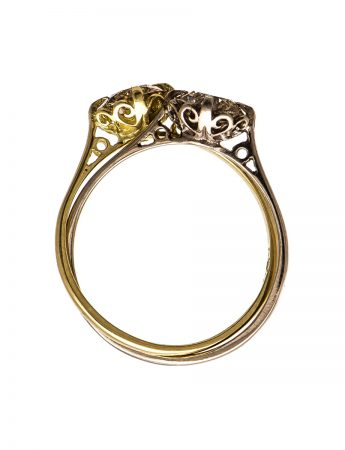Double Victorian Solitaire Ring - Champagne Diamonds