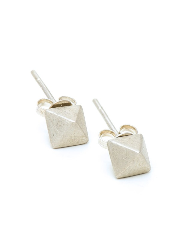 Micro octahedron stud earrings – silver