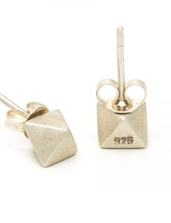 Micro octahedron stud earrings - silver