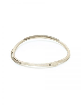 Oval bangle - silver & monel