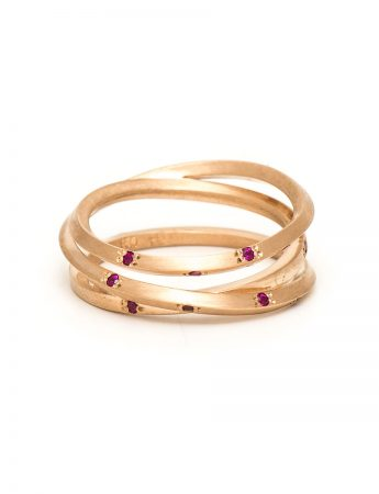 Rose Gold Triple Coil Ring - Ruby