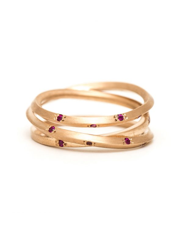 Rose Gold Triple Coil Ring – Ruby