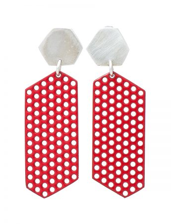 Silver & Mild Steel Earrings - Red