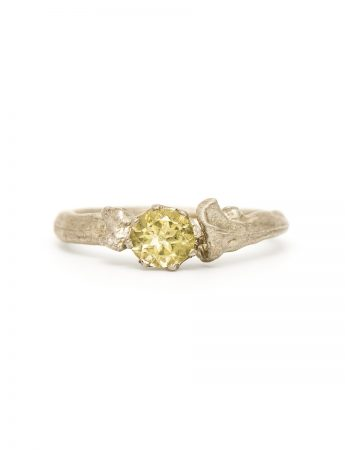 Bone Solitaire Ring - Lemon Quartz
