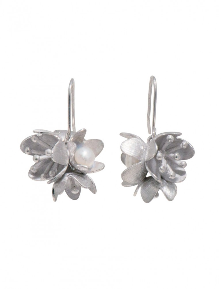 Bouquet Earrings – Rhodium Plated Silver & Pearl