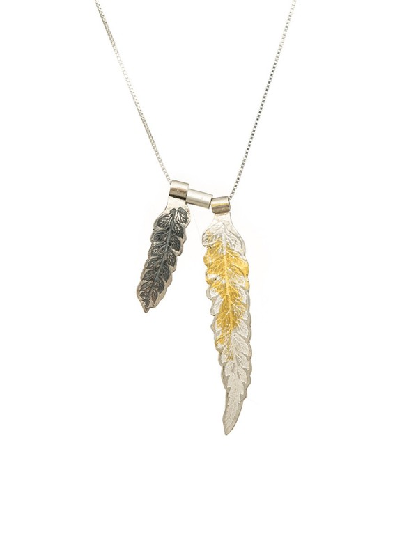 Double Leaf Pendant – Silver & Gold
