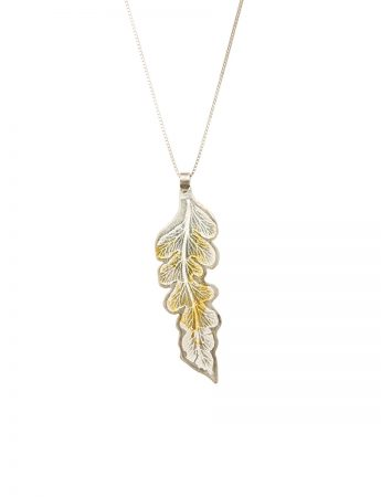 Single Leaf Pendant - Silver & Gold