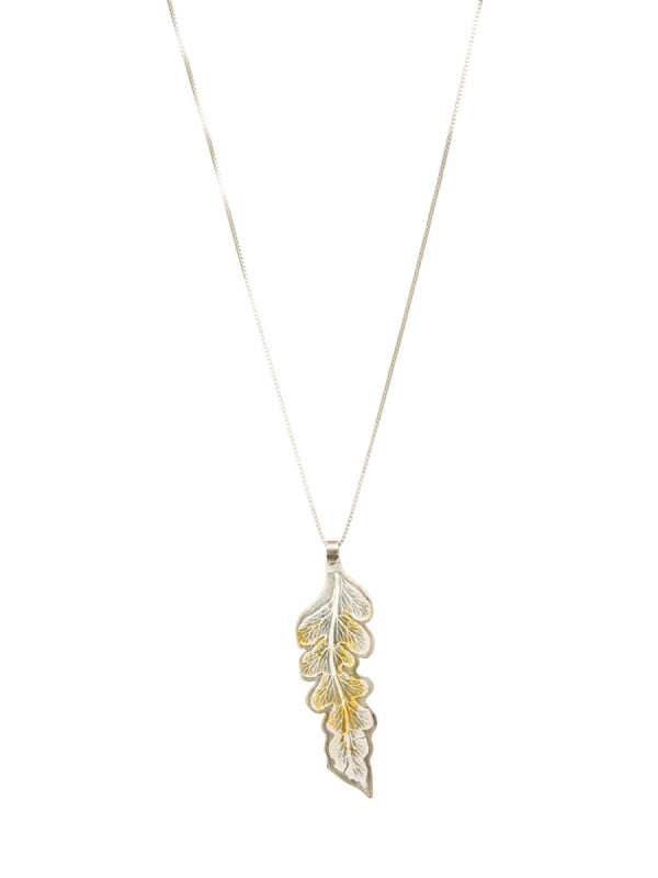 Single Leaf Pendant – Silver & Gold