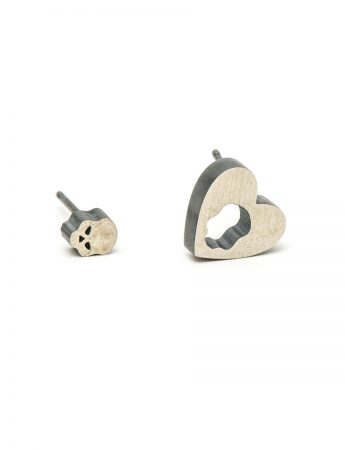 Dark Heart Stud Earrings - Silver