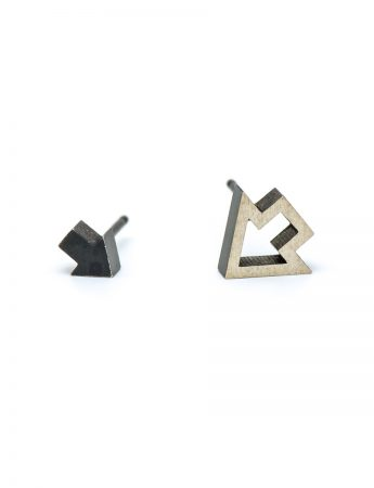 Inside Out Arrow Stud Earrings - Black & Silver