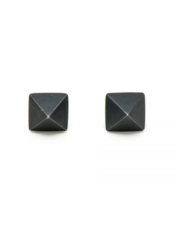 Micro Pyramid Stud Earrings - Black