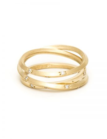 Yellow Gold Triple Coil Ring – Diamonds