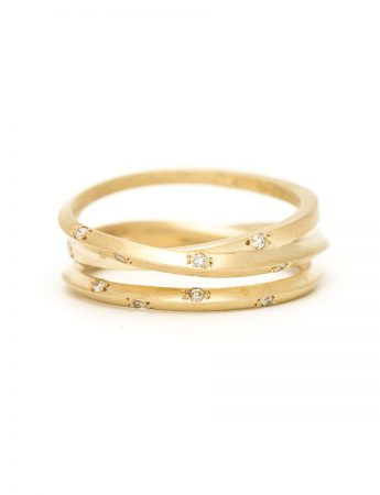 Yellow Gold Triple Coil Ring - Diamonds