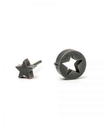 Star Punch Stud Earrings - Black