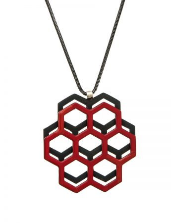 Honeycomb Pendant - Red & Black
