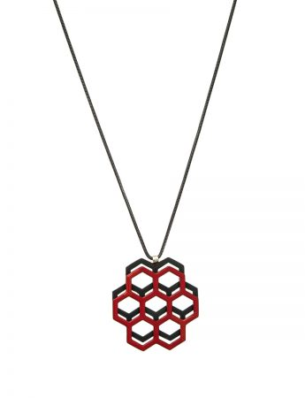 Honeycomb pendant – red & black
