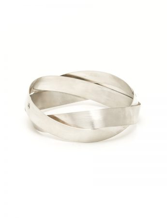 Wide Twist Bangle - Silver