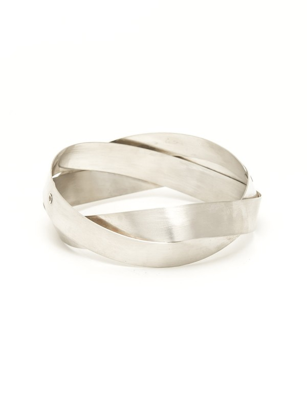 Wide Twist Bangle – Silver